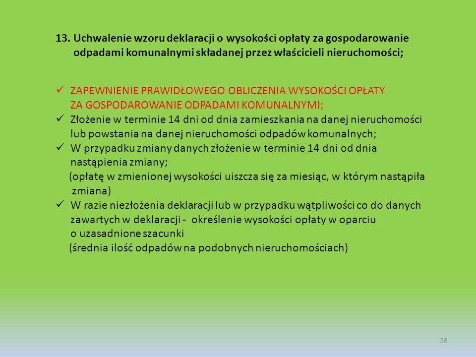 13.Uchwalenie wzoru deklaracji o wysokości opłaty za gospodarowanie odpadami komunalnymi składanej przez właścicieli nieruchomości; 28 ZAPEWNIENIE PRA