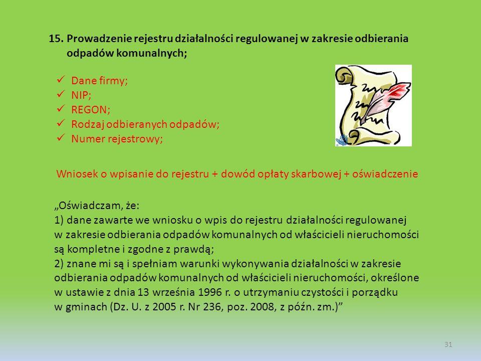15.Prowadzenie rejestru działalności regulowanej w zakresie odbierania odpadów komunalnych; 31 Dane firmy; NIP; REGON; Rodzaj odbieranych odpadów; Num