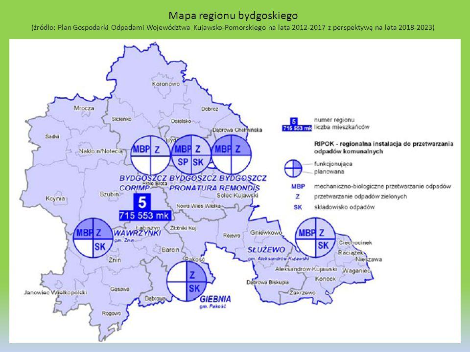 Mapa regionu bydgoskiego (źródło: Plan Gospodarki Odpadami Województwa Kujawsko-Pomorskiego na lata 2012-2017 z perspektywą na lata 2018-2023) 37