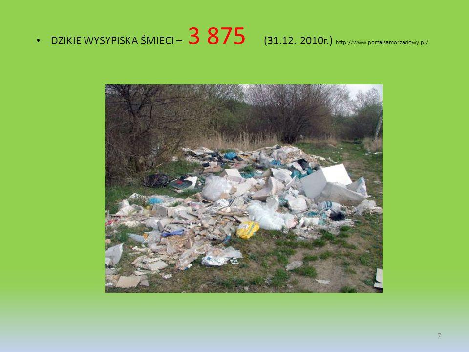 DZIKIE WYSYPISKA ŚMIECI – 3 875 (31.12. 2010r.) http://www.portalsamorzadowy.pl/ 7