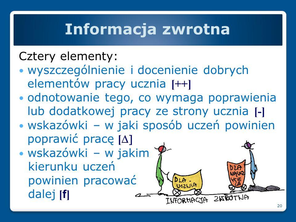 Informacja zwrotna Cztery elementy: wyszczególnienie i docenienie dobrych elementów pracy ucznia [++] odnotowanie tego, co wymaga poprawienia lub doda