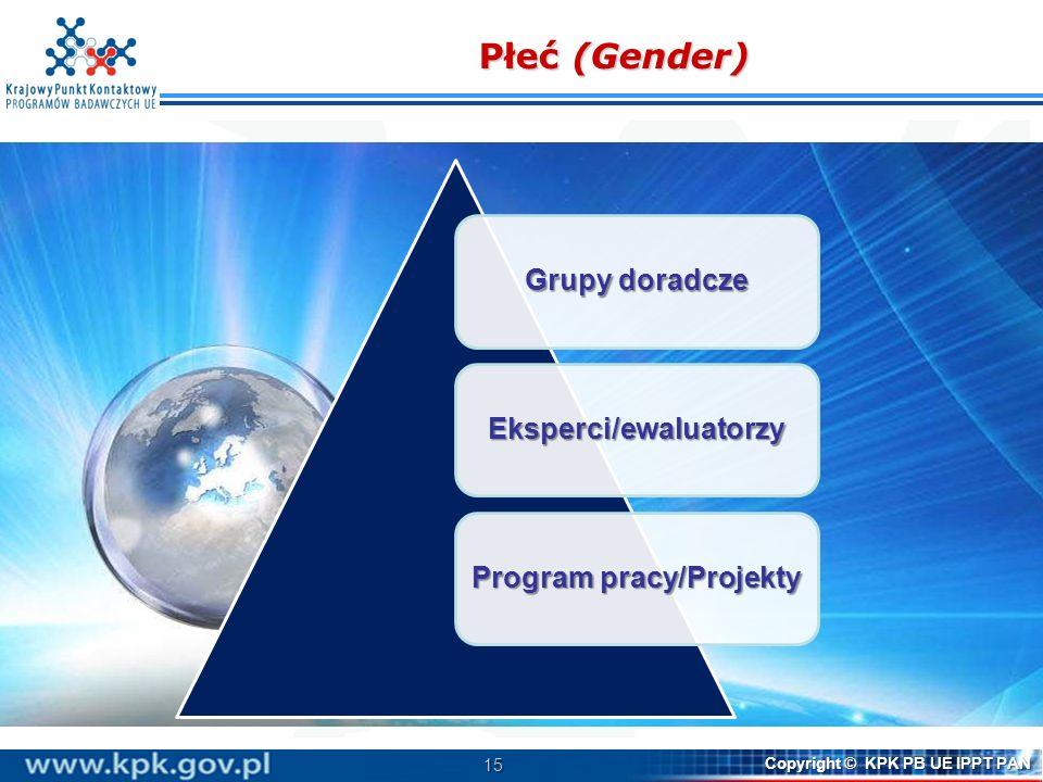 15 Copyright © KPK PB UE IPPT PAN Płeć (Gender) Grupy doradcze Eksperci/ewaluatorzy Program pracy/Projekty