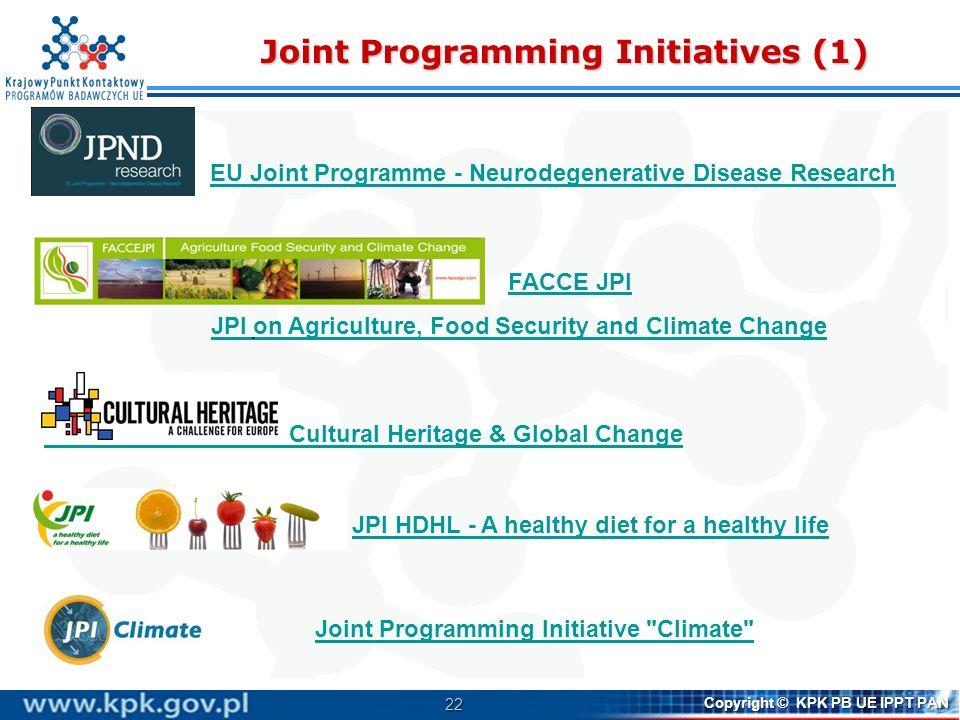 22 Copyright © KPK PB UE IPPT PAN Joint Programming Initiatives (1) Cultural Heritage & Global Change EU Joint Programme - Neurodegenerative Disease R