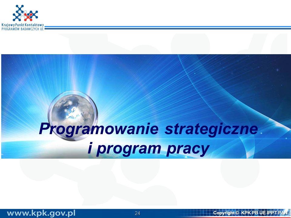 24 Copyright © KPK PB UE IPPT PAN Programowanie strategiczne i program pracy