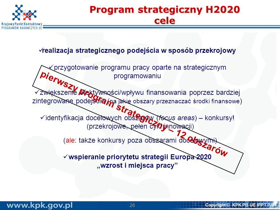 26 Copyright © KPK PB UE IPPT PAN Program strategiczny H2020 cele realizacja strategicznego podejścia w sposób przekrojowy przygotowanie programu prac
