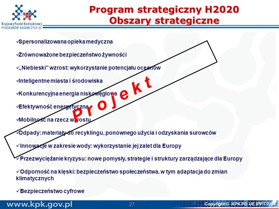 27 Copyright © KPK PB UE IPPT PAN Program strategiczny H2020 Obszary strategiczne Spersonalizowana opieka medyczna Zrównoważone bezpieczeństwo żywnośc