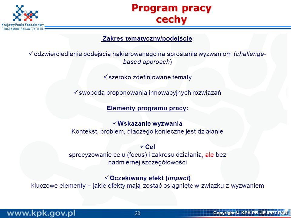 28 Copyright © KPK PB UE IPPT PAN Program pracy cechy Zakres tematyczny/podejście: odzwierciedlenie podejścia nakierowanego na sprostanie wyzwaniom (c