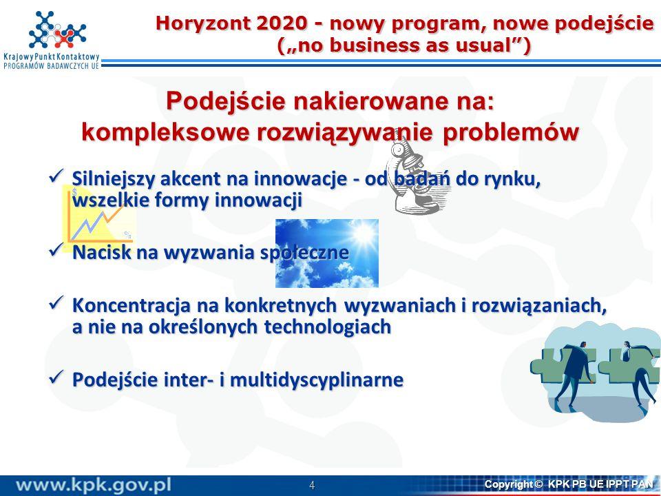 4 Copyright © KPK PB UE IPPT PAN Horyzont 2020 - nowy program, nowe podejście (no business as usual) Podejście nakierowane na: kompleksowe rozwiązywan