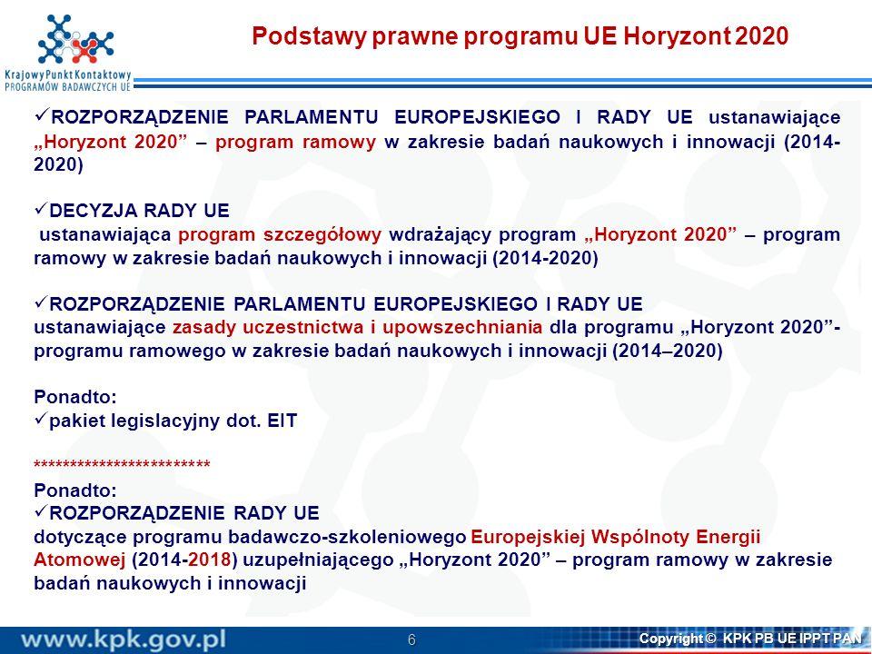 6 Copyright © KPK PB UE IPPT PAN Podstawy prawne programu UE Horyzont 2020 ROZPORZĄDZENIE PARLAMENTU EUROPEJSKIEGO I RADY UE ustanawiające Horyzont 20