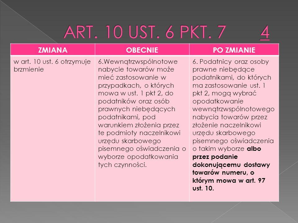 ZMIANAOBECNIEPO ZMIANIE w art.10 ust. 7 otrzymuje brzmienie 7.