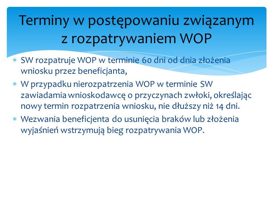 SW rozpatruje WOP w terminie 60 dni od dnia złożenia wniosku przez beneficjanta, W przypadku nierozpatrzenia WOP w terminie SW zawiadamia wnioskodawcę