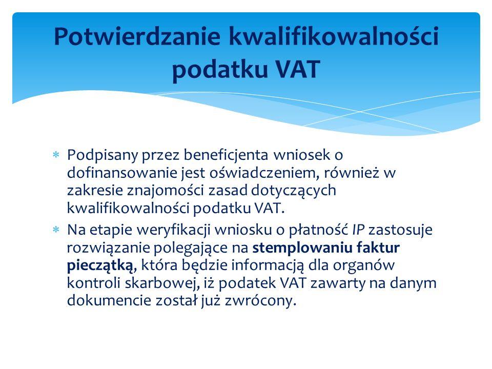 Podpisany przez beneficjenta wniosek o dofinansowanie jest oświadczeniem, również w zakresie znajomości zasad dotyczących kwalifikowalności podatku VA