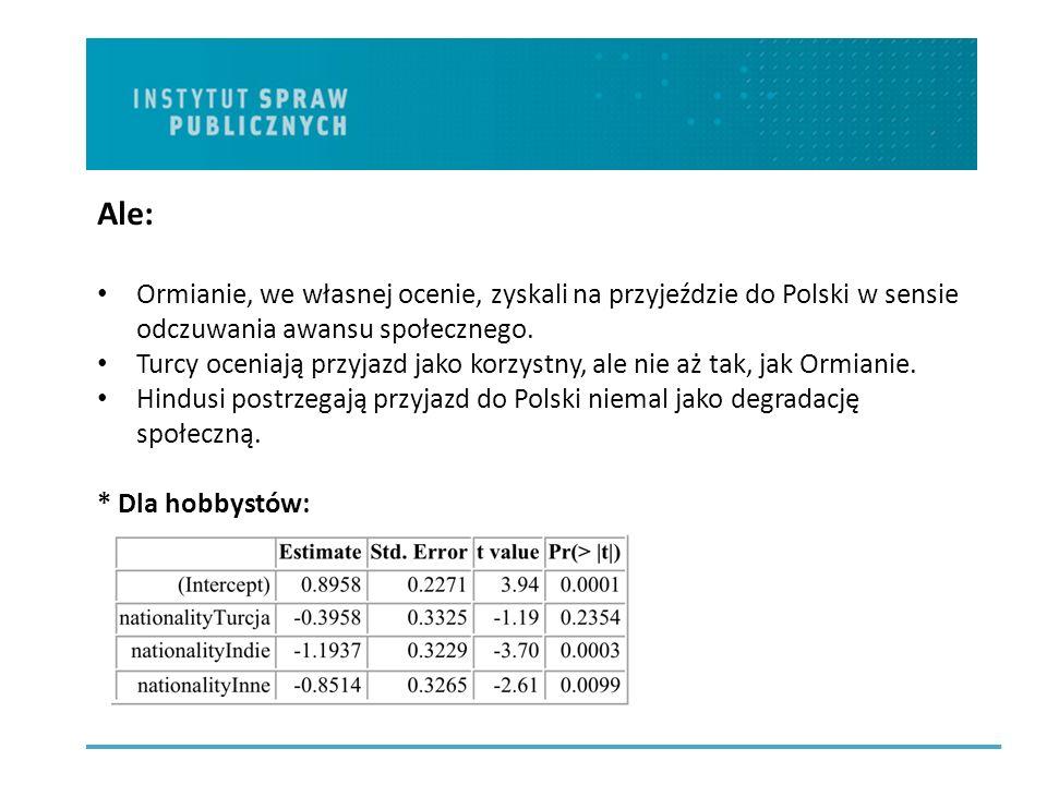 Ale: Ormianie, we własnej ocenie, zyskali na przyjeździe do Polski w sensie odczuwania awansu społecznego.
