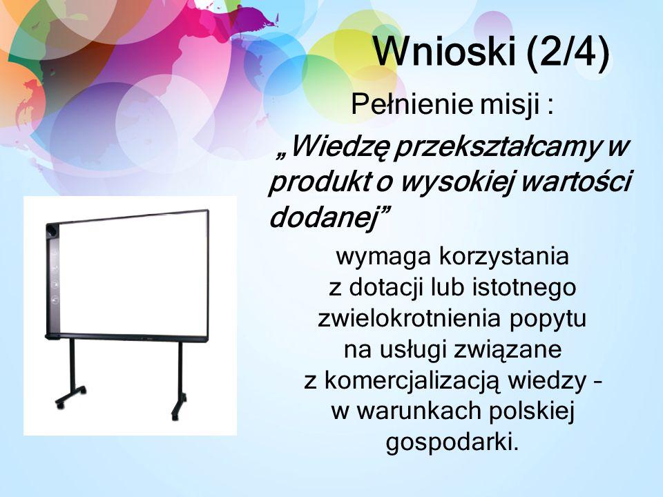 Wnioski (2/4) Pełnienie misji : Wiedzę przekształcamy w produkt o wysokiej wartości dodanej wymaga korzystania z dotacji lub istotnego zwielokrotnienia popytu na usługi związane z komercjalizacją wiedzy – w warunkach polskiej gospodarki.