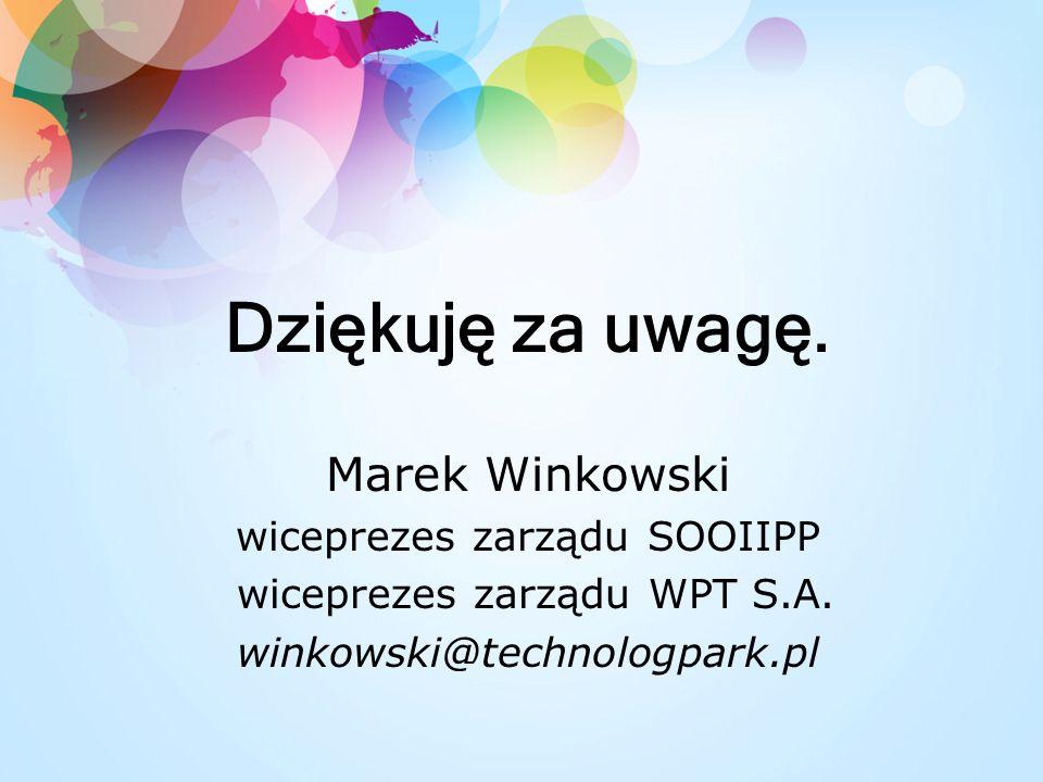 Dziękuję za uwagę.Marek Winkowski wiceprezes zarządu SOOIIPP wiceprezes zarządu WPT S.A.