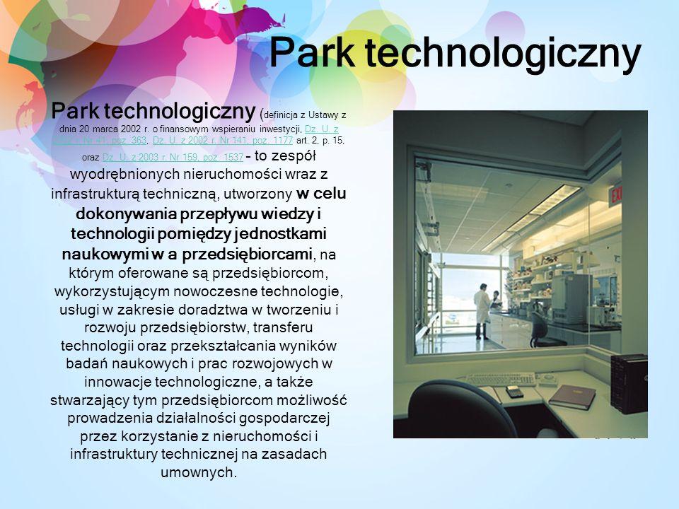 Park technologiczny Park technologiczny ( definicja z Ustawy z dnia 20 marca 2002 r.