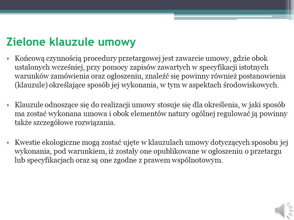 Zalecenia i sugestie zielonych klauzul umowy.