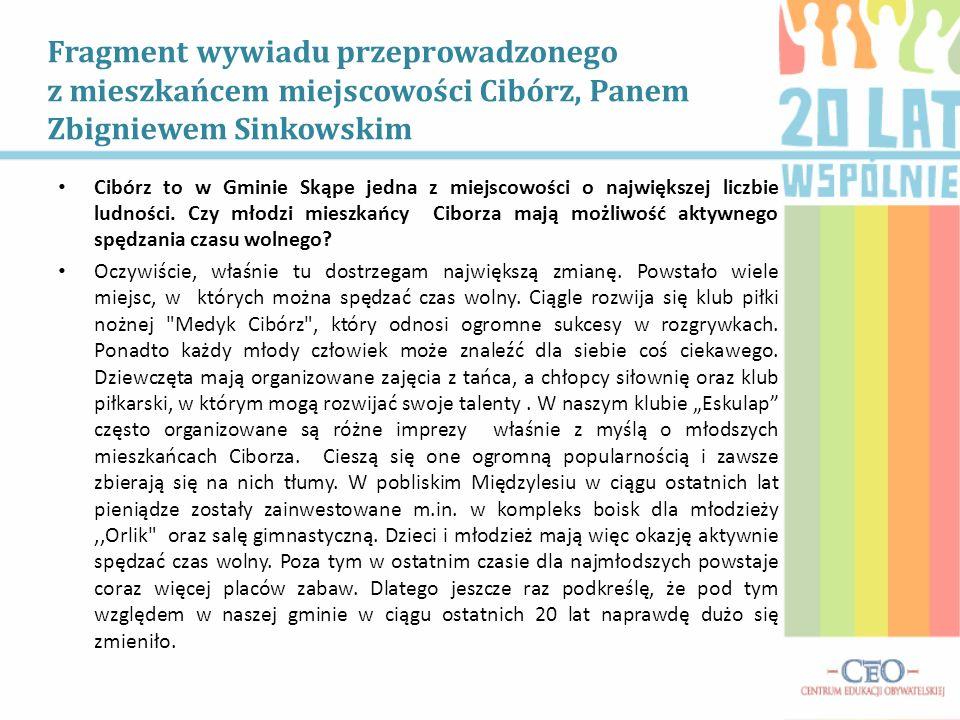 Fragment wywiadu przeprowadzonego z mieszkańcem miejscowości Cibórz, Panem Zbigniewem Sinkowskim Cibórz to w Gminie Skąpe jedna z miejscowości o najwi