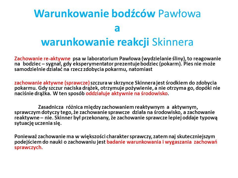 Warunkowanie bodźców Pawłowa a warunkowanie reakcji Skinnera Zachowanie re-aktywne psa w laboratorium Pawłowa (wydzielanie śliny), to reagowanie na bodziec – sygnał, gdy eksperymentator prezentuje bodziec (pokarm).