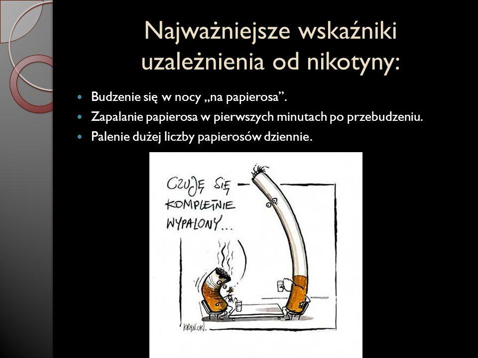 Najważniejsze wskaźniki uzależnienia od nikotyny: Budzenie się w nocy na papierosa. Zapalanie papierosa w pierwszych minutach po przebudzeniu. Palenie