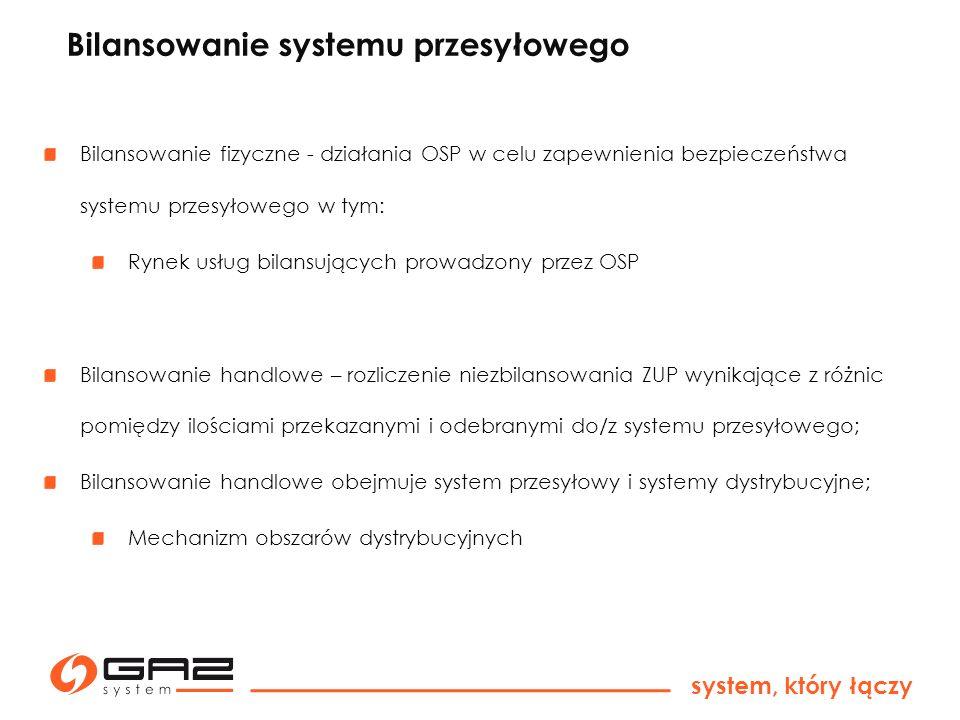 system, który łączy Bilansowanie systemu przesyłowego Bilansowanie fizyczne - działania OSP w celu zapewnienia bezpieczeństwa systemu przesyłowego w t