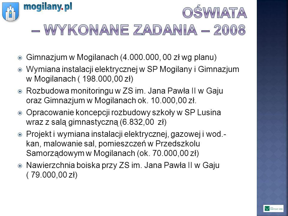 Gimnazjum w Mogilanach (4.000.000, 00 zł wg planu) Wymiana instalacji elektrycznej w SP Mogilany i Gimnazjum w Mogilanach ( 198.000,00 zł) Rozbudowa m