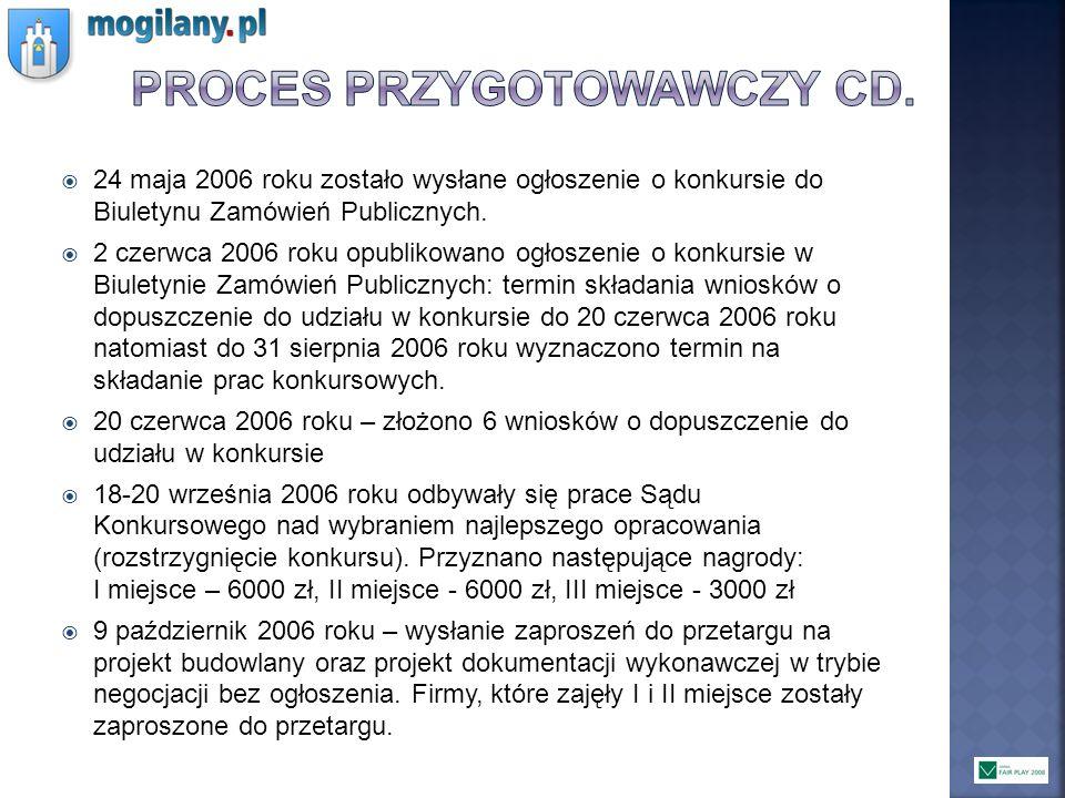 24 maja 2006 roku zostało wysłane ogłoszenie o konkursie do Biuletynu Zamówień Publicznych. 2 czerwca 2006 roku opublikowano ogłoszenie o konkursie w