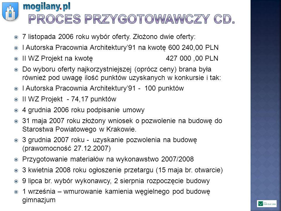 7 listopada 2006 roku wybór oferty. Złożono dwie oferty: I Autorska Pracownia Architektury91 na kwotę 600 240,00 PLN II WZ Projekt na kwotę 427 000,00