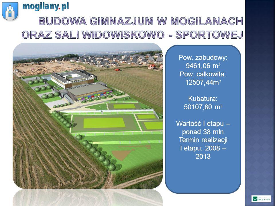 Pow. zabudowy: 9461,06 m ² Pow. całkowita: 12507,44m ² Kubatura: 50107,80 m ² Wartość I etapu – ponad 38 mln Termin realizacji I etapu: 2008 – 2013