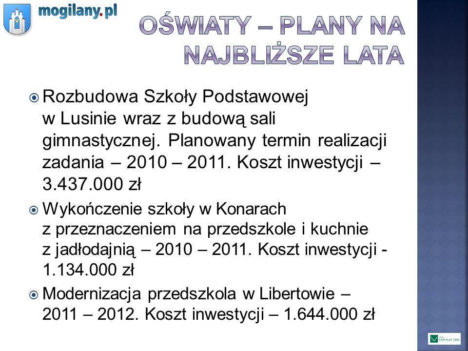 Rozbudowa Szkoły Podstawowej w Lusinie wraz z budową sali gimnastycznej. Planowany termin realizacji zadania – 2010 – 2011. Koszt inwestycji – 3.437.0