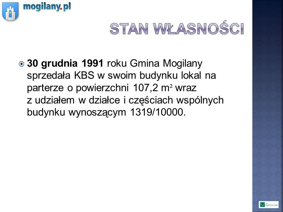 30 grudnia 1991 roku Gmina Mogilany sprzedała KBS w swoim budynku lokal na parterze o powierzchni 107,2 m ² wraz z udziałem w działce i częściach wspó