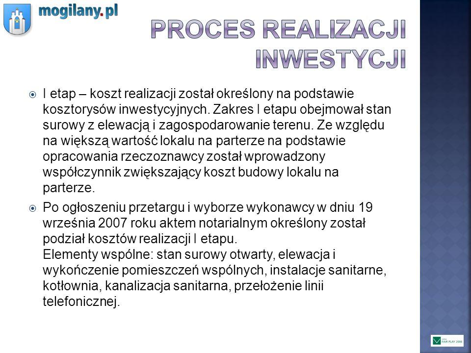 I etap – koszt realizacji został określony na podstawie kosztorysów inwestycyjnych. Zakres I etapu obejmował stan surowy z elewacją i zagospodarowanie