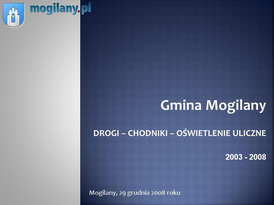 Gmina Mogilany DROGI – CHODNIKI – OŚWIETLENIE ULICZNE 2003 - 2008 Mogilany, 29 grudnia 2008 roku
