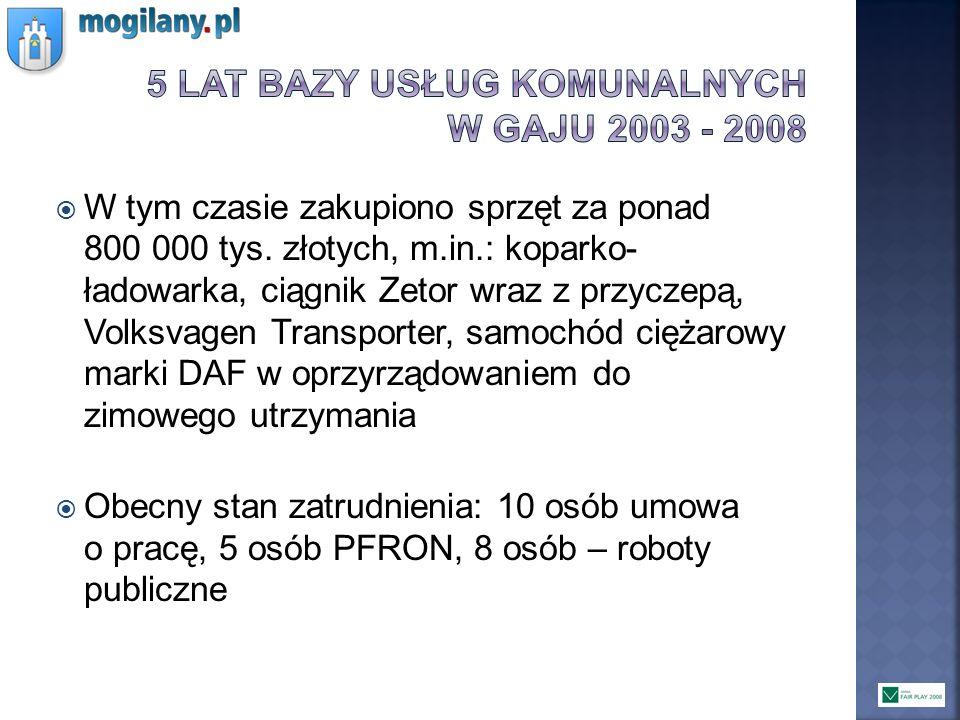 W tym czasie zakupiono sprzęt za ponad 800 000 tys. złotych, m.in.: koparko- ładowarka, ciągnik Zetor wraz z przyczepą, Volksvagen Transporter, samoch