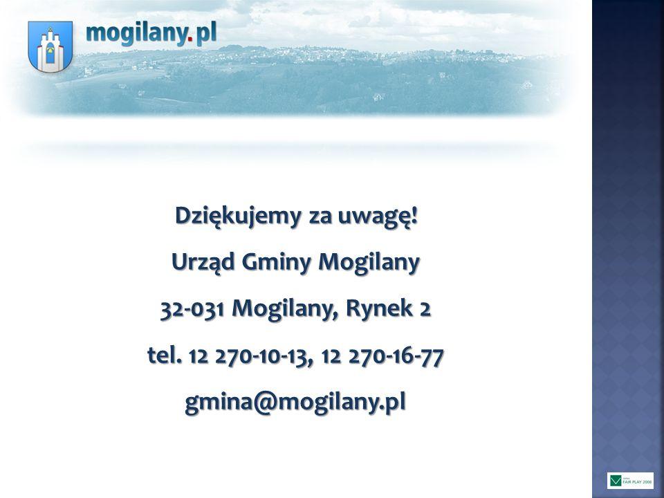 Dziękujemy za uwagę! Urząd Gminy Mogilany 32-031 Mogilany, Rynek 2 tel. 12 270-10-13, 12 270-16-77 gmina@mogilany.pl