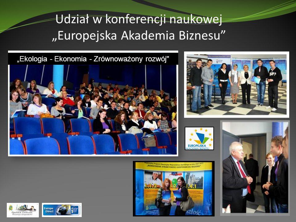 Udział w konferencji naukowej Europejska Akademia Biznesu Ekologia - Ekonomia - Zrównoważony rozwój