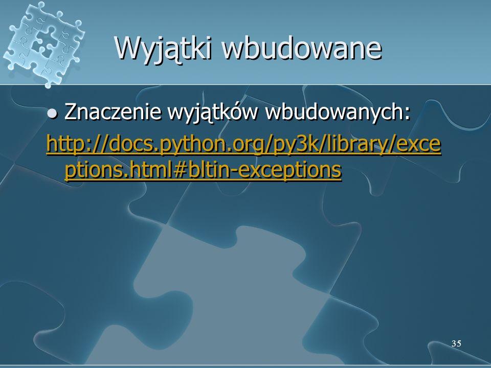 Wyjątki wbudowane Znaczenie wyjątków wbudowanych: http://docs.python.org/py3k/library/exce ptions.html#bltin-exceptions Znaczenie wyjątków wbudowanych