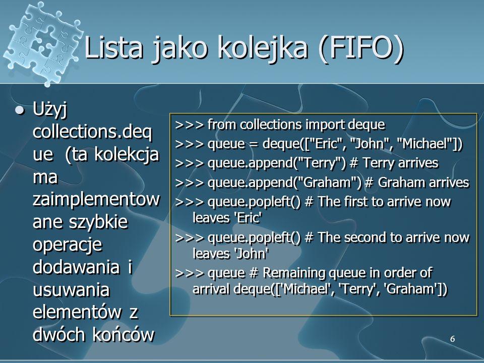 Słowniki Inaczej tablice asocjacyjne Kluczem może być każda niemutowalna strutura danych (w tym krotka, złożona z liczby i/lub str-ów) Klucze muszą być unikalne Pusty słownik inicjalizujemy za pomocą {} (dlatego w przypadku zbiorów trzeba używać set()) list(d.keys()) – zwraca wartości wszystkich kluczy (sorted(d.keys()) – postortowane klucze) in – sprawdzenie czy klucz istnieje w słowniku Inaczej tablice asocjacyjne Kluczem może być każda niemutowalna strutura danych (w tym krotka, złożona z liczby i/lub str-ów) Klucze muszą być unikalne Pusty słownik inicjalizujemy za pomocą {} (dlatego w przypadku zbiorów trzeba używać set()) list(d.keys()) – zwraca wartości wszystkich kluczy (sorted(d.keys()) – postortowane klucze) in – sprawdzenie czy klucz istnieje w słowniku 17
