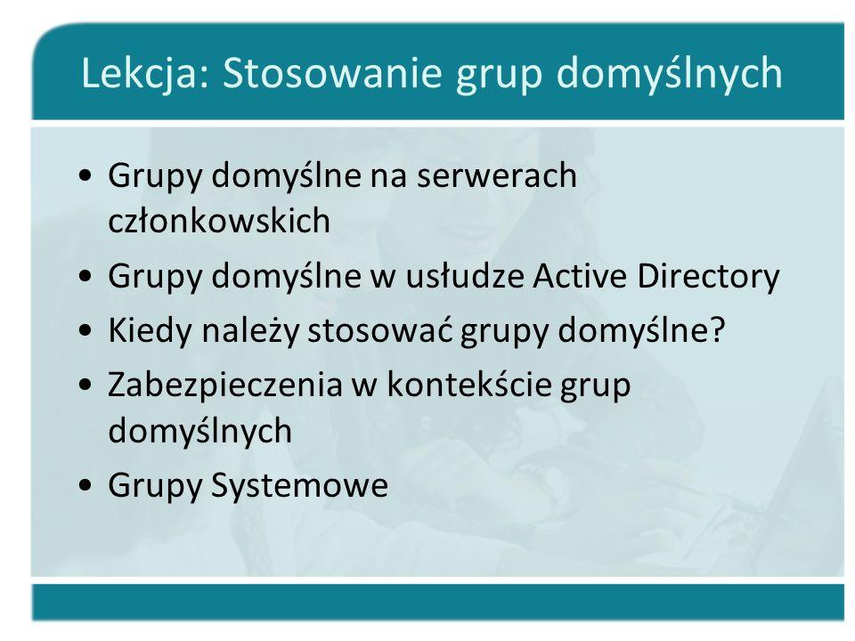 Lekcja: Stosowanie grup domyślnych Grupy domyślne na serwerach członkowskich Grupy domyślne w usłudze Active Directory Kiedy należy stosować grupy dom