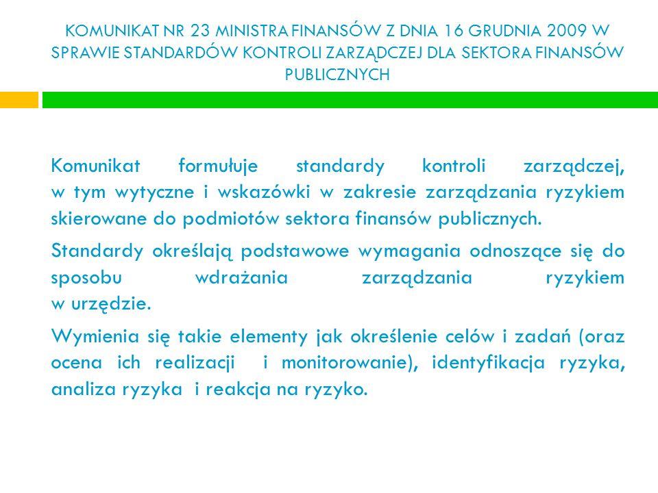 KOMUNIKAT NR 23 MINISTRA FINANSÓW Z DNIA 16 GRUDNIA 2009 W SPRAWIE STANDARDÓW KONTROLI ZARZĄDCZEJ DLA SEKTORA FINANSÓW PUBLICZNYCH Komunikat formułuje