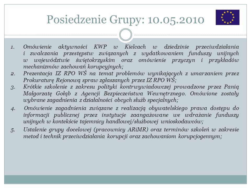 Posiedzenie Grupy: 10.05.2010 1.Omówienie aktywności KWP w Kielcach w dziedzinie przeciwdziałania i zwalczania przestępstw związanych z wydatkowaniem