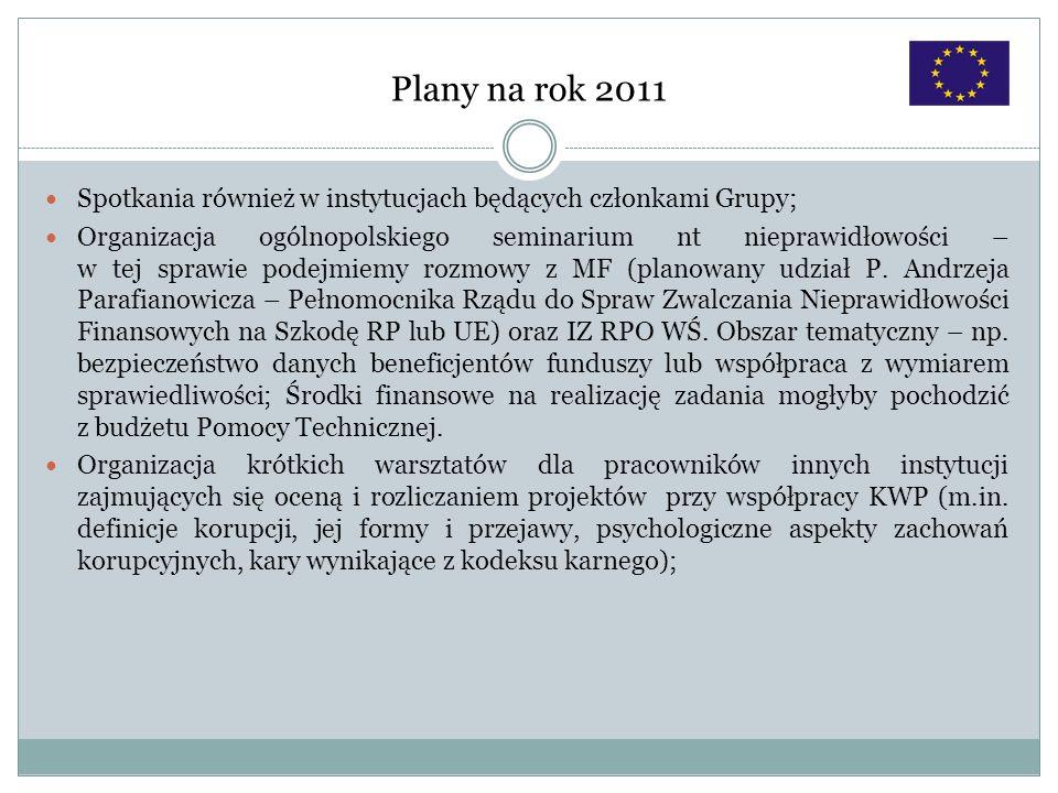 Plany na rok 2011 Spotkania również w instytucjach będących członkami Grupy; Organizacja ogólnopolskiego seminarium nt nieprawidłowości – w tej sprawi
