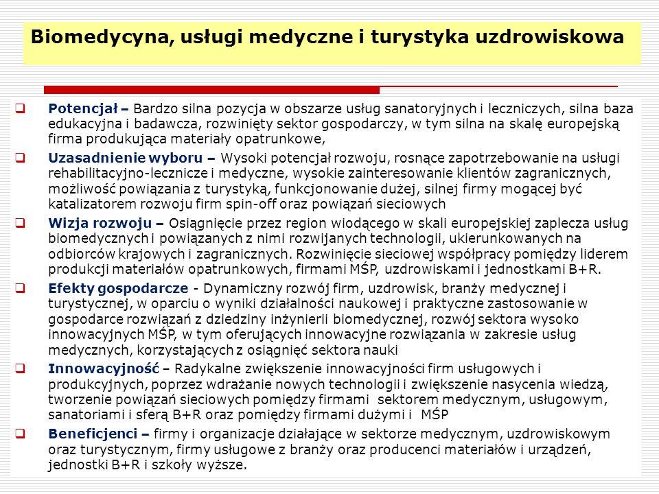 16 Biomedycyna, usługi medyczne i turystyka uzdrowiskowa Potencjał – Bardzo silna pozycja w obszarze usług sanatoryjnych i leczniczych, silna baza edu