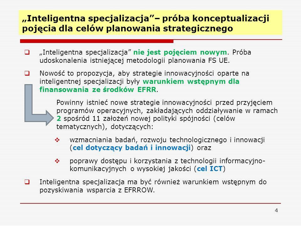 Inteligentna specjalizacja– próba konceptualizacji pojęcia dla celów planowania strategicznego 4 Inteligentna specjalizacja nie jest pojęciem nowym. P