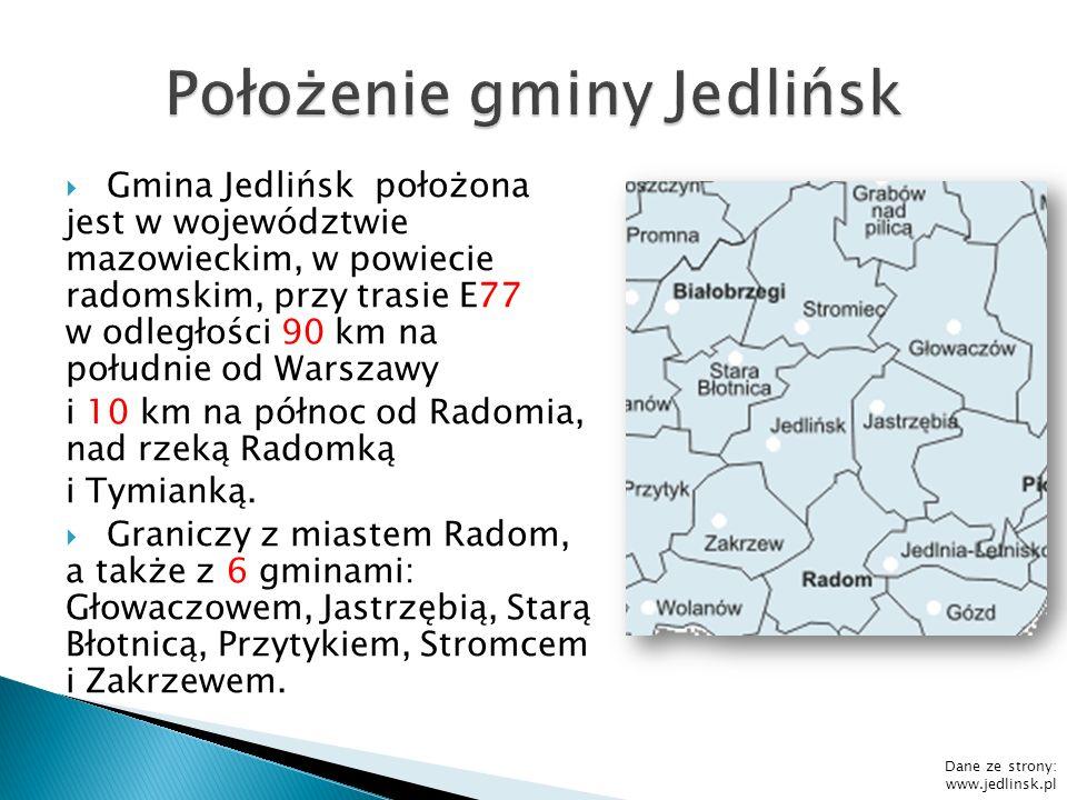 Dane ze strony http://pl.wikipedia.org/wiki/Powiat_radomski Powierzchnie poszczególnych gmin w powiecie radomskim: Iłża –255,82 km² Pionki - 230,82 km² Skaryszew –171,41 km² Jedlińsk - 138,72 km² Przytyk - 134,12 km² Zakrzew - 96,15 km² Wierzbica - 93,97 km² Jastrzębia - 89,51 km² Wolanów - 82,85 km² Gózd - 77,76 km² Kowala - 74,71 km² Jedlnia-Letnisko - 65,57 km² Miasto Pionki – 18,34 km² Powierzchnia powiatu wynosi 1529,75 km² POWIERZCHNIA GMINY JEDLIŃSK STANOWI OKOŁO 9,1% POWIERZCHNI POWIATU