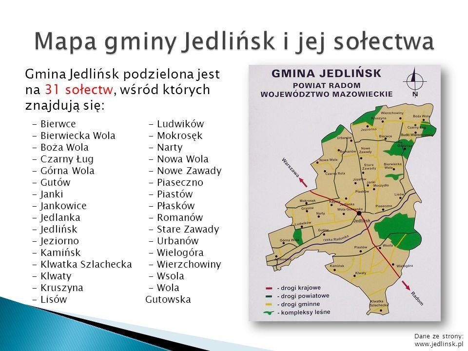 Powierzchnia Gminy Jedlińsk wynosi: W ha: 13 872 W km 2 : 138,72 W m 2 : 138 720 000 W cm 2 w notacji wykładniczej: 1,3872* 10 12 79% powierzchni gminy Jedlińsk stanowią użytki rolne, 8,2% lasy, 2,5% wody.