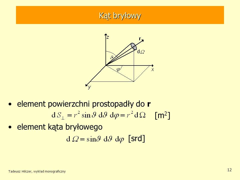 Kąt bryłowy element powierzchni prostopadły do r [m 2 ] element kąta bryłowego [srd] Tadeusz Hilczer, wykład monograficzny 12