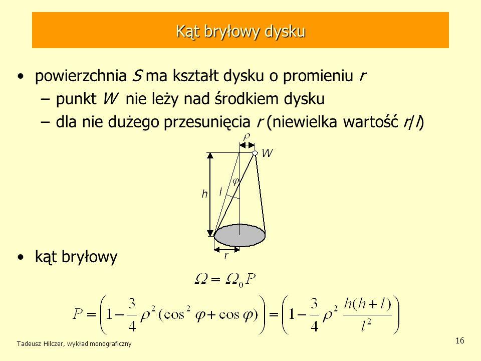 Kąt bryłowy dysku powierzchnia S ma kształt dysku o promieniu r –punkt W nie leży nad środkiem dysku –dla nie dużego przesunięcia r (niewielka wartość