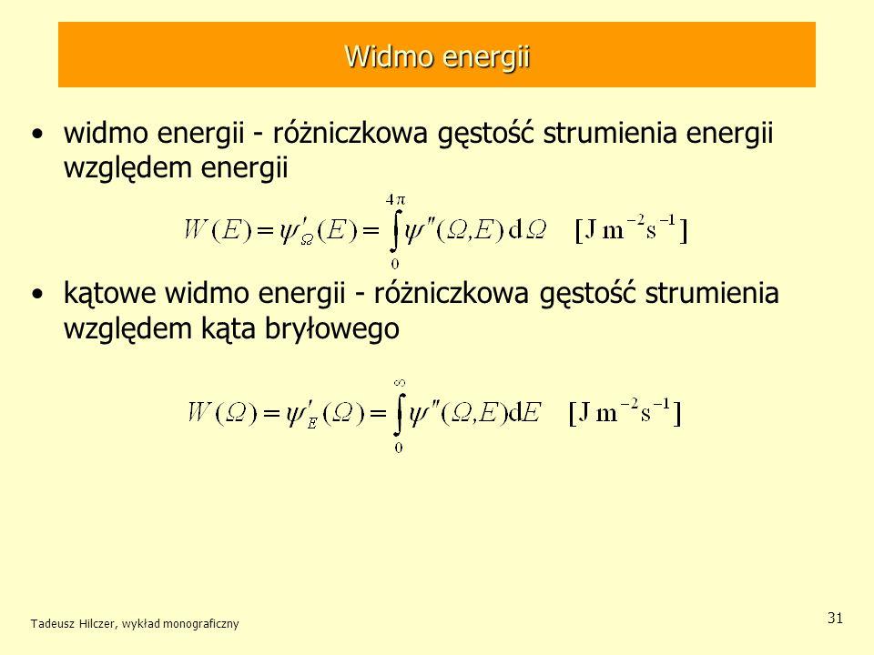 Widmo energii widmo energii - różniczkowa gęstość strumienia energii względem energii kątowe widmo energii - różniczkowa gęstość strumienia względem k