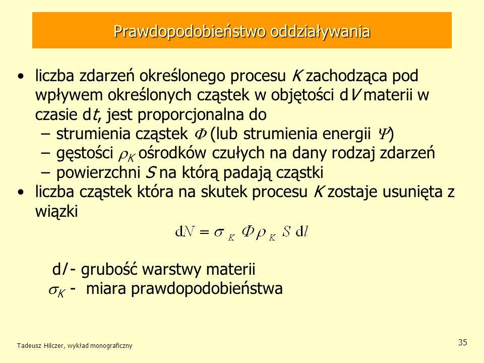 Prawdopodobieństwo oddziaływania liczba zdarzeń określonego procesu K zachodząca pod wpływem określonych cząstek w objętości dV materii w czasie dt, j